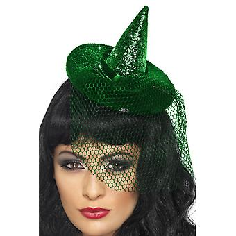 Mini witch Hat green sparkles on Headbands with network