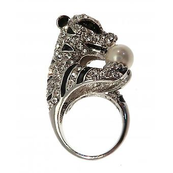 W.A.T Silver Style Sparking Crystal Tiger Holding Pearl Ring