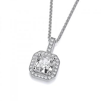 "Cavendish French CZ Surround Square Solitaire Pendant with 16 - 18"" Silver Chain"