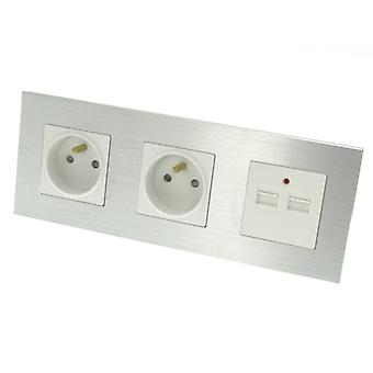 I LumoS Luxury Silver Brushed Aluminium Frame Double 16A French + 2.1A USB Triple Socket