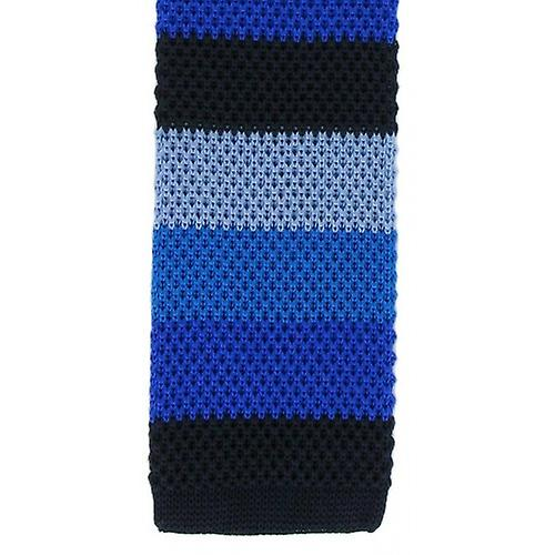 Michelsons of London Striped Skinny Silk Knitted Tie - Navy