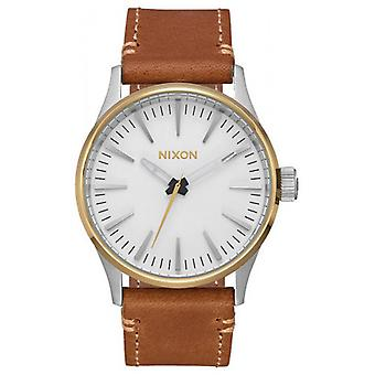 Nixon The Sentry 38 Leather Watch - Gold/White/Brown