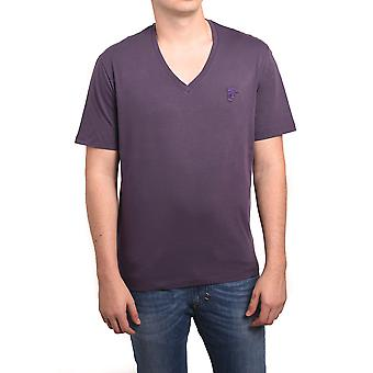 Versace Collection Men Medusa V-Neck Tee T-Shirt Purple