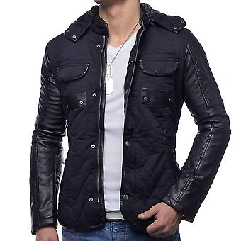 Men's winter jacket black mount jacket Leather Sleeve hooded quilted warm lined