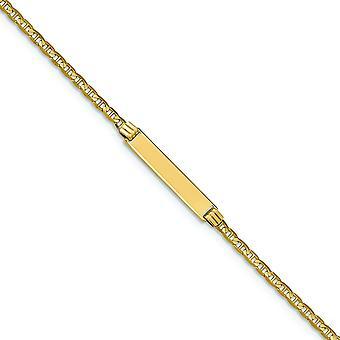 14K amarelo ouro polido Engravable lagosta garra fechamento 6 polegadas âncora Link para meninos ou meninas pulseira de identificação - garra de lagosta