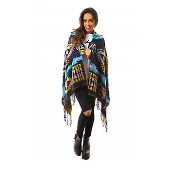 The Fashion Bible Tribal Print Hooded Poncho In Blue