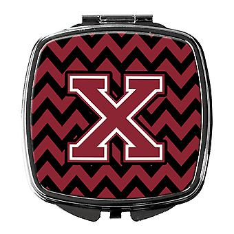 Letter X Chevron Garnet and Black  Compact Mirror