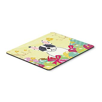 Easter Eggs French Bulldog Piebald Mouse Pad, Hot Pad or Trivet