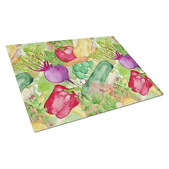Watercolor Vegetables Farm to Table Glass Cutting Board Large