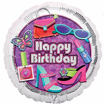 Anagram 18 Inch Glitzy Happy Birthday Circle Foil Balloon