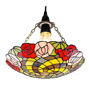 Traditional Multi-Coloured Rose Themed Tiffany Glass Pendant Shade