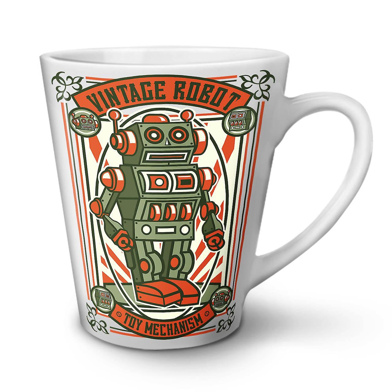 Café Tasse En Nouvelle Vieux Latte 12 OzWellcoda Robot Céramique Vintage Blanche CdxoeB