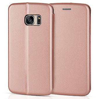 Efecto de cuero Samsung Galaxy S7 soporte caso de cartera - oro