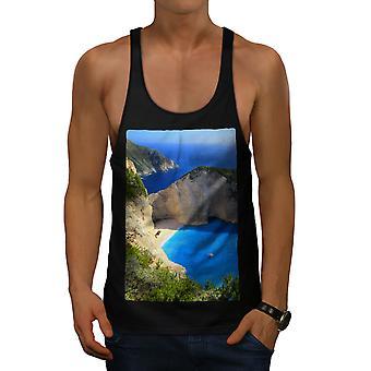Cliff Ocean Water Men BlackGym Tank Top   Wellcoda