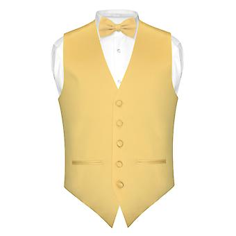 Mens SLIM FIT Dress Vest BowTie Solid Bow Tie Handkerchief Set