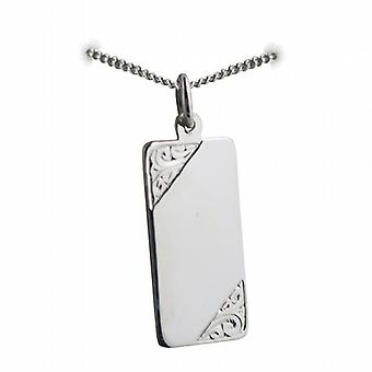 Silver 26x13mm hand engraved rectangular medical alarm Disc with a curb Chain 24 inches