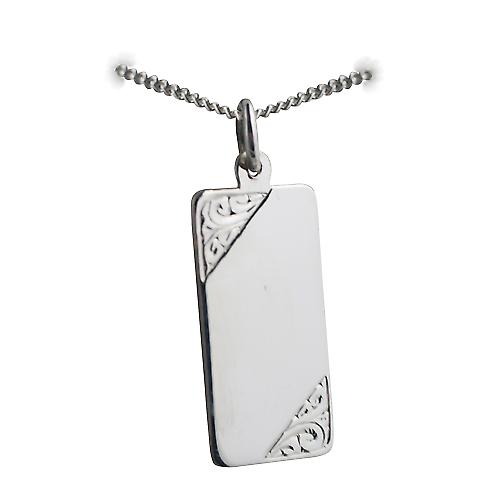Silver 26x13mm hand engraved rectangular Medical Alarm Disc with a Curb chain