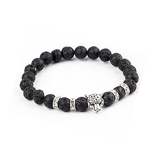 Bracelet man - woman in black lava stone Stretch and head of Panther