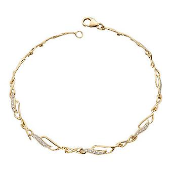 Elements Gold Diamond Cutout Link Bracelet - Gold/Clear