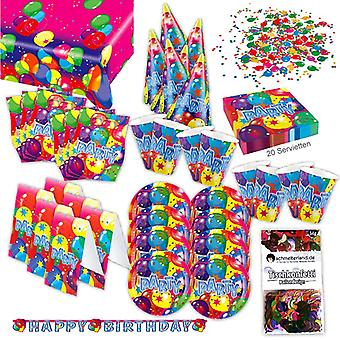 Happy birthday party set XL 64-teilig for 6 guests birthday decoration party package