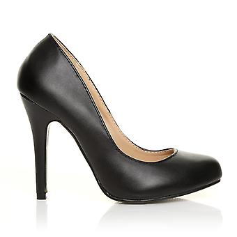 HILLARY Black PU Leather Stilleto High Heel Classic Court Shoes