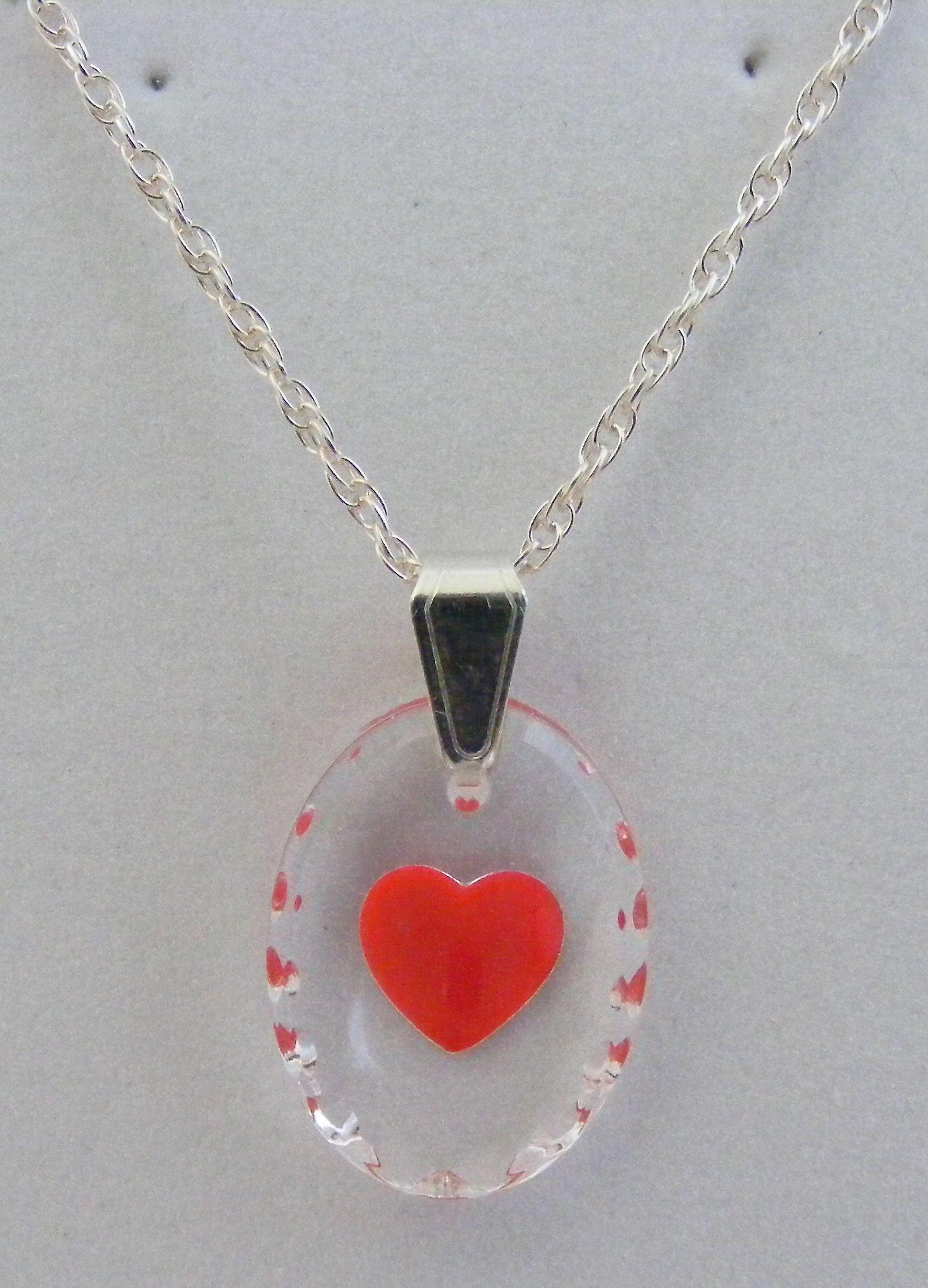Hand Painted Heart Oval Crystal Pendant - Red