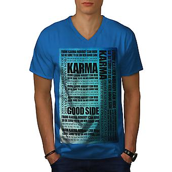 Karma Hide Saying Men Royal BlueV-Neck T-shirt | Wellcoda