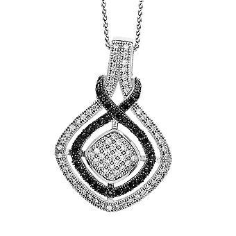 Orphelia plata 925 cadena con colgante zirconio negro & blanco ZH-7240/1