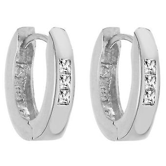 IBB London Oval Cubic Zirconia Creole Earrings - Silver
