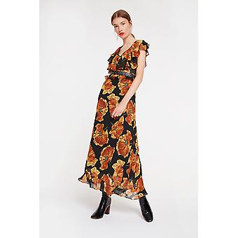 Ghospell Floral Maxi Dress With Studded Detailing