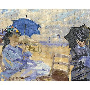 Claude Monet The Beach At Trouville Counted Cross Stitch Kit-12.5