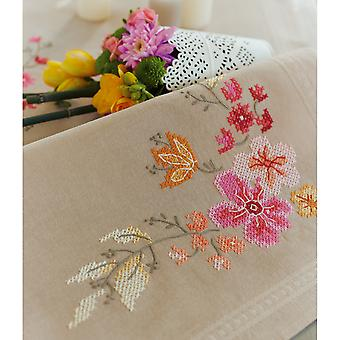 Pink Flowers Table Runner Stamped Cross Stitch Kit-16