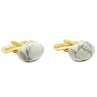 Gemshine - cufflinks - gold plated - Ho - white - gray - 16 mm