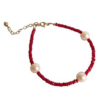 Gemshine - ladies - bracelet - gold plated - Ruby - Red - Pearl - White