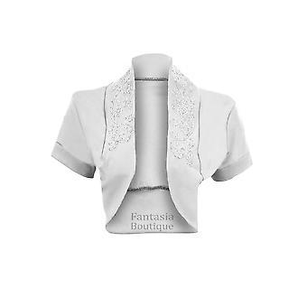Ladies Beaded Open Short Sleeve Bolero Cardigan Women's Shrug