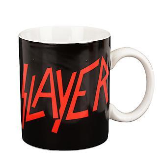 SLAYER Tasse Logo  weiß, bedruckt, aus Keramik, Fassungsvermögen 350 ml., in Geschenkbox.