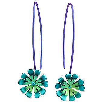 Titanio Ti2 doble pendientes flor de diez pétalos - verde