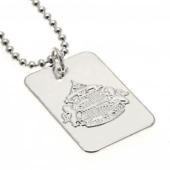 Sunderland Silver Plated Dog Tag & Chain