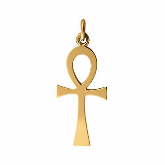 18ct Gold 32x16mm plain solid Ankh or Peace Cross
