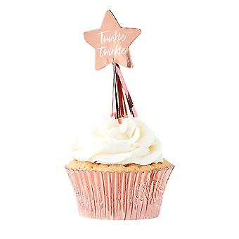 Rose Gold Star Cupcake toppers with Tassels x 12 - Baby Shower