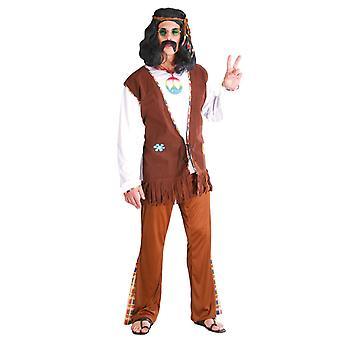 Mens Brown 1970s Hippy Fancy Dress Costume