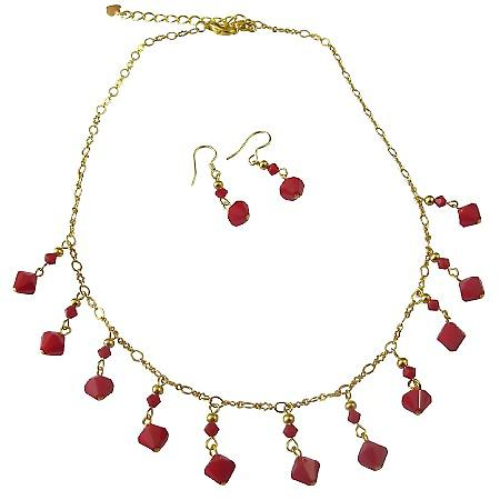 Dark Red Coral Swarovski 22k Gold Plated Necklace Set Jewelry