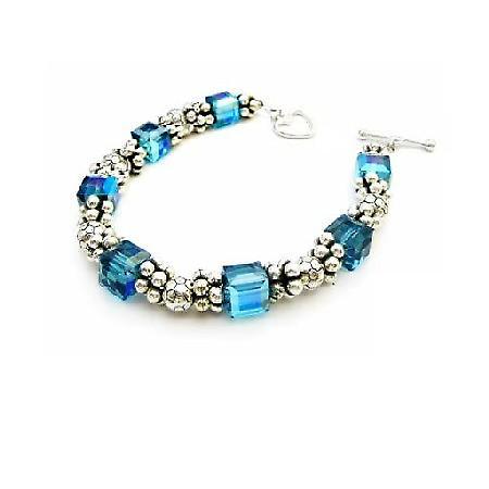 Sterling Silver 92.5 Bracelet w/ Swarovski Indicolite Bracelet Heart