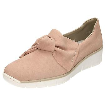 Rieker Suede Leather Loafer Shoes 537Q4-31 Low Wedge