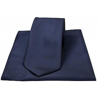 David Van Hagen Horizontal Ribbed Polyester Tie and Handkerchief Set - Royal Blue