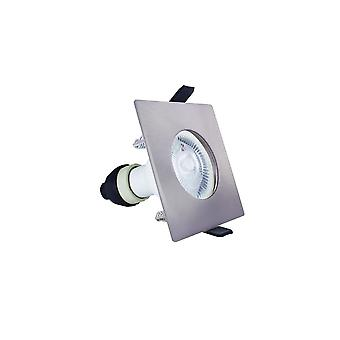 Integral - LED Fire Rated Static Downlight Spotlight Square Satin GU10 Holder Satin Nickel IP65 - ILDLFR70D008
