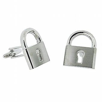 Harvey Makin Gents Rhodium Plated Silvetone Padlock Cufflinks In Gift Box