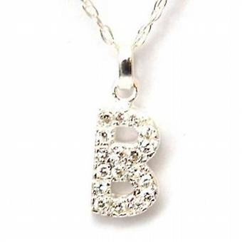 TOC Sterling Silver Clear Rhinestone Set Initial 'B' Pendant Necklace 18