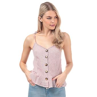 Womens Brave Soul Button Through Cami Top In Red / Cream