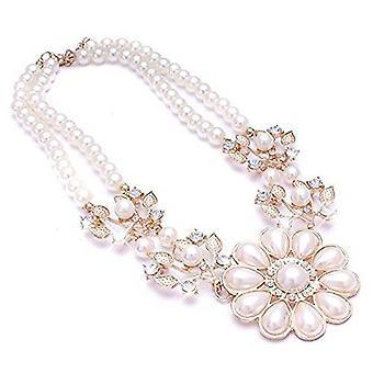 Damer guld perle blomst stil juvel erklæring Swarovski krystal halskæde